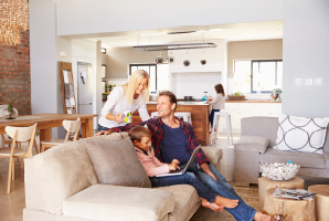 Happy family in a ventilated tranquil home